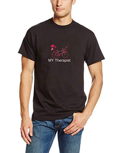 T-Shirt Herren Sommer Oberteile Mein Therapeut Fahrrad Funny Bike Riding Rider Radfahren Radfahrer Mann Mann T-Shirt für Männer(Can Custom-Made Pattern) (Color : Schwarz, Size : 2XL) -