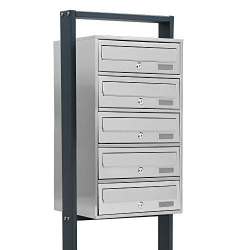 BITUXX® Design Edelstahl Stand-Briefkastenanlage Postkasten Letterbox Mailbox mit 5 Fächer und Dunkelgrauen Standrohren