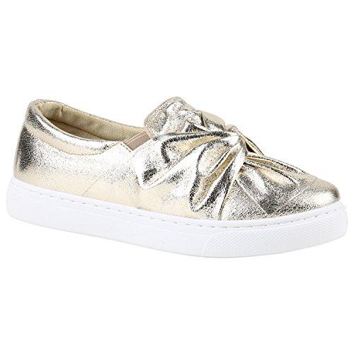 89c6caf025644a Damen Sneakers Slip-ons Lack Glitzer Metallic Slipper Schuhe Gold Schleife