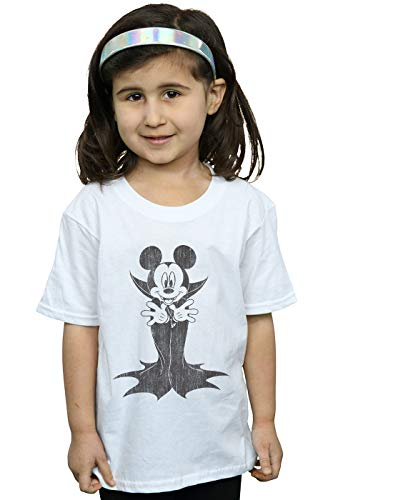 Disney Mädchen Mickey Mouse Dracula T-Shirt Weiß 9-11 Years