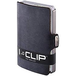 I-CLIP Soft Touch Cartera Delgada Tarjetero Pequeño para Tarjetas de Crédito y Billetes (negro)