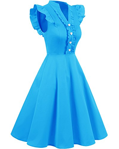 Bridesmay Damen Hepburn Vintage Rockabilly 50S Retro Swing Kleider Partykleid Cocktailkleider Blue