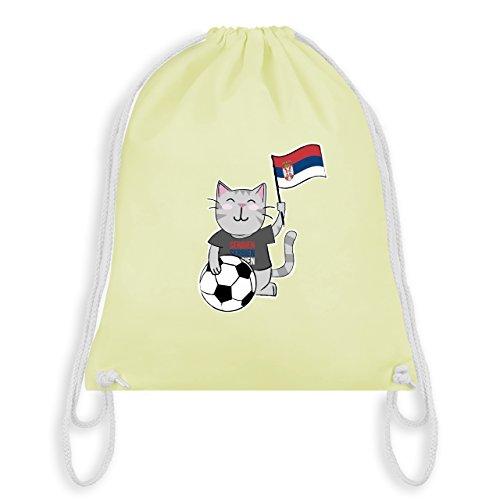 Fußball-Weltmeisterschaft 2018 Kinder - Fußball Katze Serbien - Unisize - Pastell Gelb - WM110 -...
