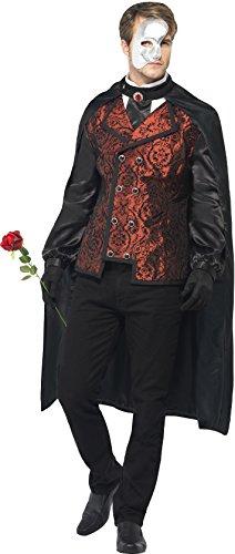 Smiffys, Herren Dark Opera Kostüm, Umhang, Mock Hemd, Maske, Handschuhe und Kunstrose, Größe: L, 24574 (Ideen Für Einen Dark Angel Kostüm)