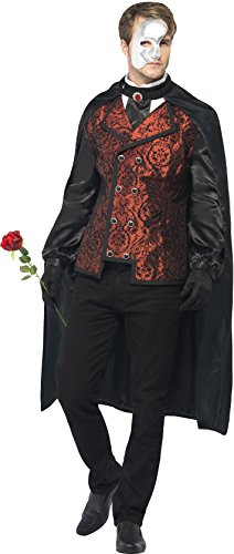 Opera Kostüm, Umhang, Mock Hemd, Maske, Handschuhe und Kunstrose, Größe: L, 24574 (Karneval-halloween-kostüm-ideen)