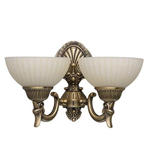 Antike kompakte Wandleuchte 2-flammig messingfarbiges Metall vanillafarbiges Glas grelles indirektes Licht für Diele Halle Küche Esszimmer Wohnzimmer Schlafzimmer exkl.2 * 60W E27