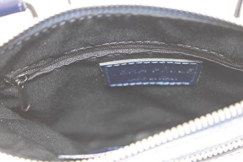 CTM Borsa Elegante da Donna con Tracolla, 22x24x4cm, Vera pelle 100% Made in Italy Blu