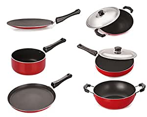 Nirlon Gas Compatible Non-Stick Aluminium Cookware Set, 6-Pieces, Red/Black