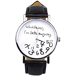 WANGSAURA Unisex Men Women Stylish Faux Leather Strap Band Letter Print Analog Display Quartz Round Buckle Simple Wrist Watch Black 1