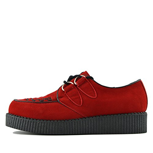 Kick Footwear Mens Flat Black Piattaforma Teddy Goth Punk Creepers Scarpe Stivali Taglia - UK4/EU37 Womens, Rosso