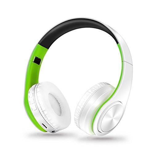 Stereo Gaming Headset, SAZI Sport Kopfhörer Tragbar PC-Headset Wireless Gaming Kopfhörer mit Mikrofon 3.5mm On Ear Surround Sound Ohrhörer (Grün Weiß)