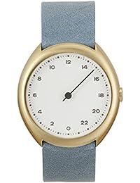 Slow O 13 - Bleu clair étui en cuir Style vintage or cadran blanc Montre à quartz unisexe avec cadran blanc Affichage analogique et bracelet en cuir bleu clair