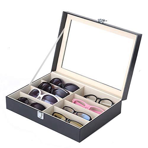 INEP PU Kunstleder Sonnenbrille Box-8 Brillen Organizer Vitrine, Sammlung Schmuck Aufbewahrungsbox, Mit Glasplatte Und PVC-Material