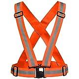 ReflectoSafe High Visibility Protective Safety Reflective Vest Belt Jacket, Night Cycling Reflector Strips Cross Belt…