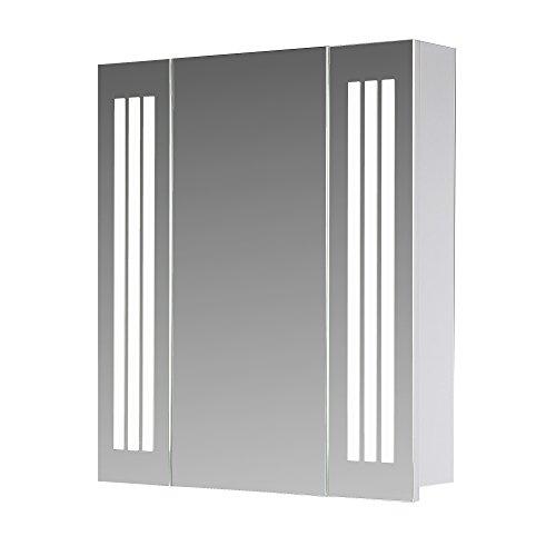 Eurosan 1-türiger Spiegelschrank, Superflach, Integrierte LED-Frontbeleuchtung, Breite 60 cm, Weiß, Sydney, S60