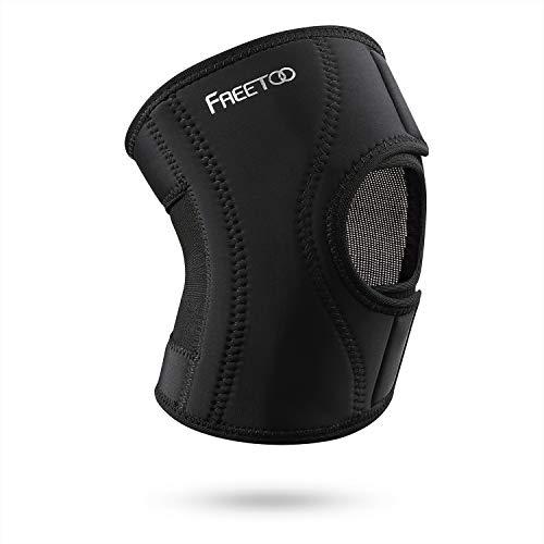 FREETOO [Kniebandage Knieschoner Atmungsaktiver Knieschützer Verstellbare Knieorthese mit Gelenkschienen für Damen und Herren (Grundtyp Design, S/M)