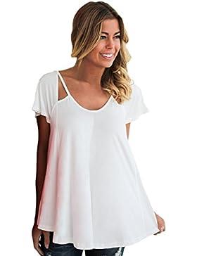 Camiseta de tirantes con diseño de blusa de hombro frío, color blanco, talla M
