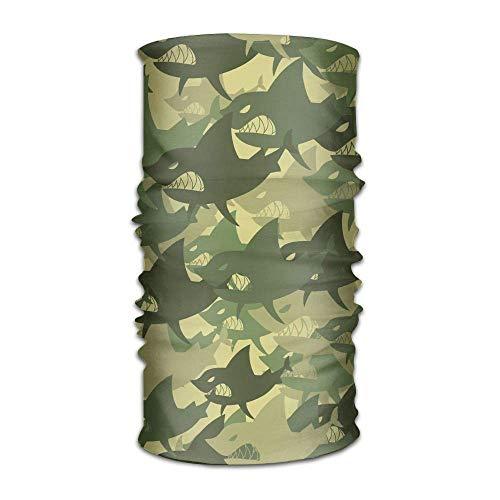 FAFANIQ Military Shark Camouflage Unisex Breathable Headband Bandanas Headwear Balaclava Neck Gaiter Magic Scarf UV Protection for Daily Activities