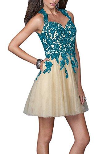 Gorgeous Bride Fashion Herz-Ausschnitt Mini Rueckenfrei Tuell Spitze Applikation Brautjungfernkleid Cocktailkleid Partykleid Blau