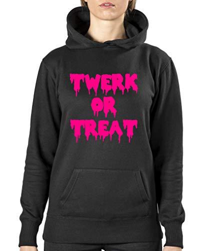 Comedy Shirts - Twerk or Treat - Halloween - Damen Hoodie - Schwarz/Pink Gr. S
