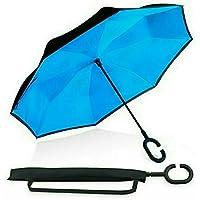 BP@ Ombrello Pieghevole con meccanismo di apertura riverso invertito utilissimo in caso di pioggia rovesciato, le mani a forma di C Reverse Parasol libera della maniglia doppio strato antivento auto all
