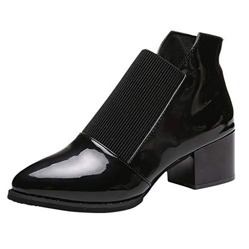 Watopi Damen Winter Schuh wies Chelsea Boots hochhackige Kurze Stiefel Gummiband Ankle Boots Kleine Lederschuhe