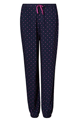 - 41EbsD6UkQL - Ladies Cuffed Star Print Famous Make Pyjama Bottoms.Navy/Cerise. Sizes 8 to 22