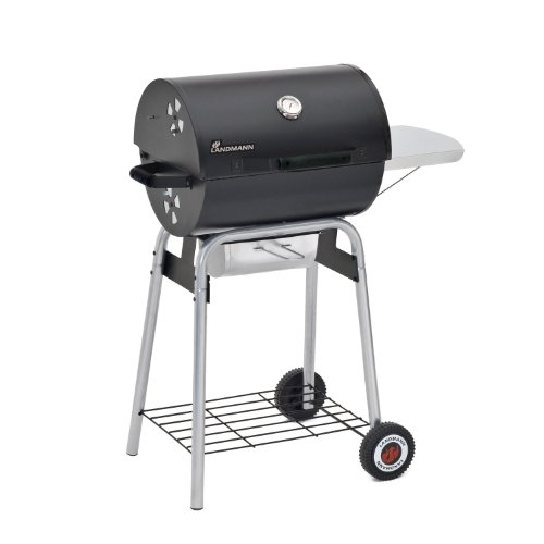 Landmann Black Taurus 440 Charcoal Barbecue - BBQ with 2 x Grill, Side Shelf, Warming Rack - Barbecue with Wheels - Garden Barbecue - Charcoal bbq