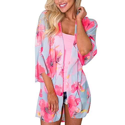 Tuopuda Damen Cardigan Chiffon Tops Sommer Beachwear Bikini Cover Up Bluse am Strand Sonnenschutz-Cardigan Strand Badeanzug Bedecken Fünf-Punkt-Ärmel (F) -