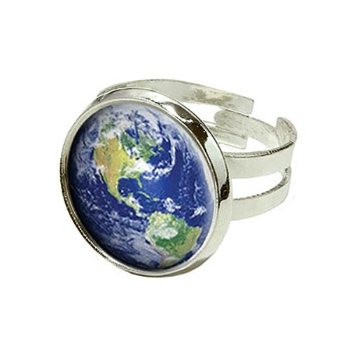 Erde–Planet–Globe–Silber Versilbert verstellbar Neuheit -