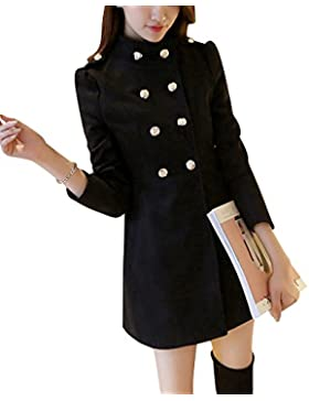 Mujer Invierno Abrigo de Lana de Botonadura Doble pecho Manga larga Chaqueta mezclada de lana Negro M