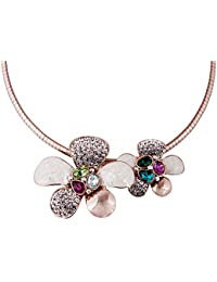 STRIPES Presents Beautiful Flower Design And Multi Colour Stone With Crystal Golden Party Wear Necklace For Women...