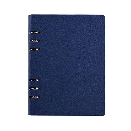 Jia HU A6Leder Binder Ringe Taschen Diary Tagebuch Notizbuch Portfolio Organizer 150Seiten dunkelblau (4x6 Portfolio-buch)