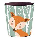 YAKOK Mülleimer Kinderzimmer, 10L PU Leder Tier Dekorativ Papierkorb Kinder für Mädchen Jungen Wohnzimmer Schlafzimmer Kinderzimmer (Fuchs)