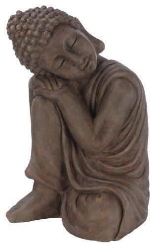 Multistore 2002 – Figura de Buda apoyado sobre su rodilla (43 cm, para jardín, piedra)