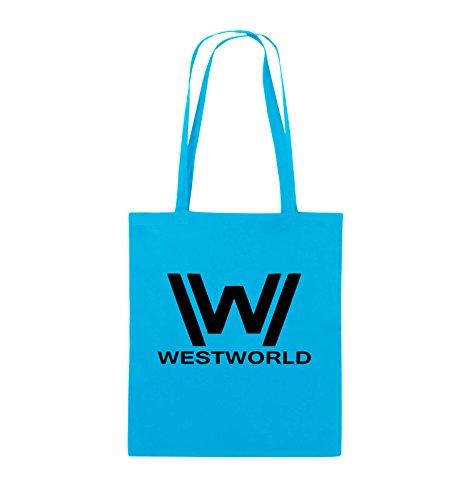 Borse A Tracolla - Westworld - Logo - Borsa In Juta - Manico Lungo - 38x42cm - Colore: Nero / Rosa Azzurro / Nero