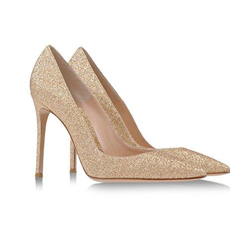 EDEFS Femmes Artisan Fashion Escarpins Unis Classiques Lady Travail Bureau Pointus Des Couleurs Chaussures à talon haut de 100mm Doré