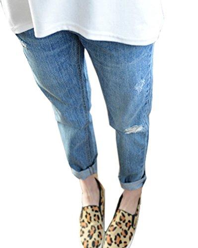 Donne jeans rotti pantaloni a vita alta casual sciolto jeans strappati ginocchia azzurro chiaro 28