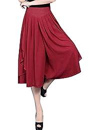 Mujer Pantalones Falda Fashion Ocasional Anchas Pantalon Anchos Elegantes  Vintage Unicolor Cintura Alta Aireado Bastante Chiffon 6a323754e6b0