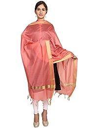 Home Shop Gift Pink Chanderi Silk Dupatta For Women