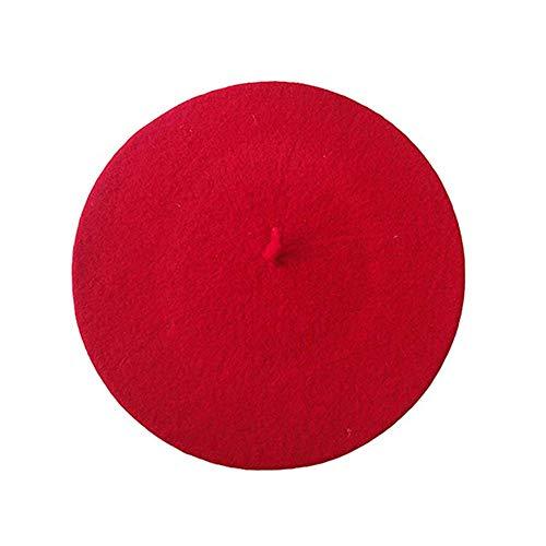 mi ji Joyería Francés Estilo cómodo Beret Gorros de Lana de Punto Boina Color sólido Ligeros Ocasionales Suaves clásicos de la Boina Sombreros para Mujeres Rojo