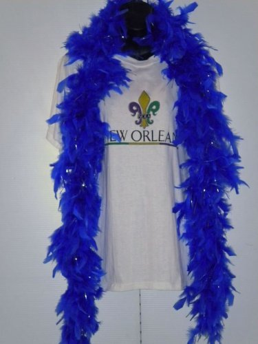 6' Royal Blue Boa with Silver Tinsel (Each) by Mardi Gras Spot