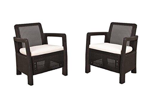 Keter Tarifa - Conjunto de sillones de jardín exterior con cojines incluidos, Color marrón