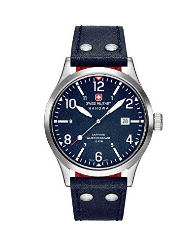 Swiss Military Hanowa Herren Analog Quarz Uhr mit Leder Armband 06-4280.04.003CH