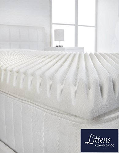 "Littens - 3"" Extra Deep 4ft Small Double Bed Size Memory Foam Mattress Topper (Profile / Egg Shell) 75mm, 120cm x 190cm 2"