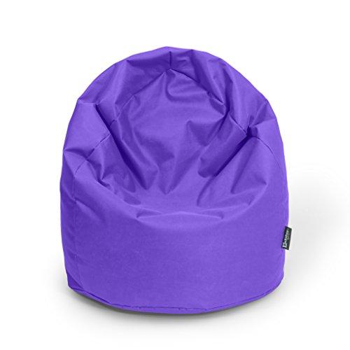 BuBiBag Sitzsack Tropfenform Beanbag Sitzkissen für In & Outdoor XL 300 Liter bis XXXL 470L mit Styropor Füllung in 23 versch. Farben (XXXL Ca. H : 130cm - Dm : 85cm ca. 490 Liter, lila)
