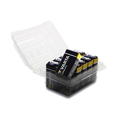 Varta Longlife Batterie (9V Block, Alkaline 6LP3146, 10er Pack) in wiederverschließbarer original WEISS - more power + Batteriebox Din Radio Block