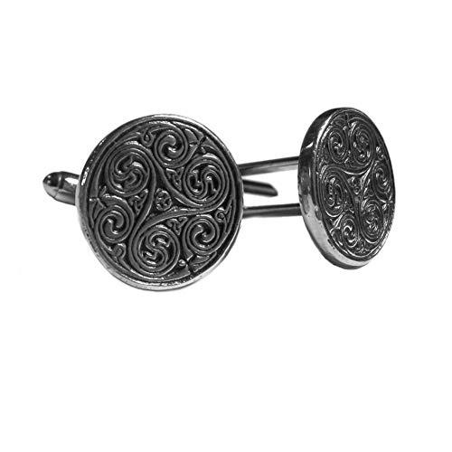 Glen Esk - Herren Manschettenknöpfe aus 100% Messing - schottische, keltische und irische Designs - Silberfarben/Chrom - rund mit keltischem Motiv (Kostüme Traditionelle Irische)