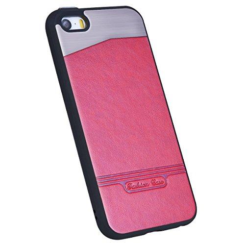 HB-Int für iPhone SE / 5S / 5 Hülle Leder mit Weich Silikon Metall Hybrid Schutzhülle Rot Flexible Case TPU Bumper Shell Handytasche Rot