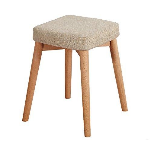 ZHANGRONG- Tabouret de bar petit déjeuner 45cm haut | Siège de cuisine en bois approprié pour des tables de barre de petit déjeuner -Tabouret de canapé (Couleur : Beige)